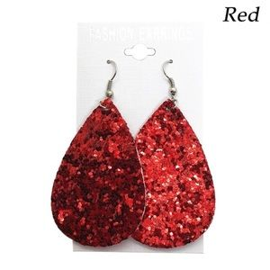 RED SEQUINS LEATHER EARRINGS